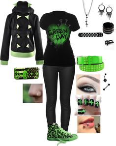 """Green Day 3"" by foreverbroken ❤ liked on Polyvore"
