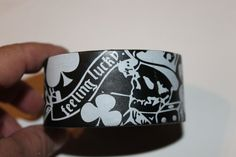 Upcycle Belt Black & White Feeling Lucky Cuff by ReadinginRags, $14.98