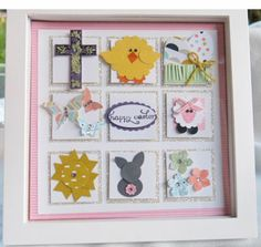 Easter Frame by Ruth Bingle, glimmer paper is squares and white is 1 square. square memory frame from Hobby Lobby Valentines Frames, Memory Frame, Framed Art, Wall Art, Punch Art, Card Maker, Beach Themes, Shadow Box, 3 D