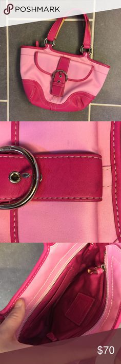 Hot Pink Two Tone Coach Purse Purse bought at Macys. Older style. Good condition second photo should a few marks not very noticeable might be able to be cleaned just didn't want to try myself. Super cute bag! Smaller in size but can still hold a lot. Smoke free home. No trades. Coach Bags