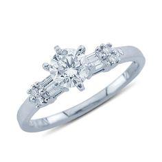 Platinum Sparkling Round and Baguette Cut Diamond Promise Ring  $2,401.00