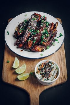 Sweet Sticky Pork Ribs + Crunchy Daikon, Carrot, Cucumber Salad with Wasabi Yoghurt Dressing