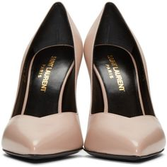 Saint Laurent Pink Paris Skinny Heels (33.365 RUB) ❤ liked on Polyvore featuring shoes, pumps, antique pump, rose pink shoes, pink pointy toe pumps, rose shoes and pink pumps