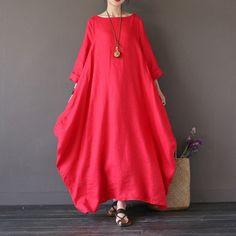 Dress - Women Summer Printing Cotton Linen Loose Dress