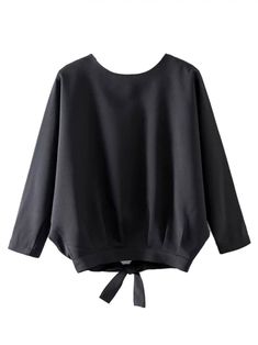 Buy Black Batwing 3/4 Sleeve Back Split Blouse from abaday.com, FREE shipping Worldwide - Fashion Clothing, Latest Street Fashion At Abaday.com Blouse Styles, Blouse Designs, Shirt Blouses, Shirts, Mode Hijab, European Fashion, European Style, Blouse Dress, Batwing Sleeve