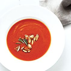 Creamy Pumpkin-Red Pepper Soup | CookingLight.com #myplate #vegetables