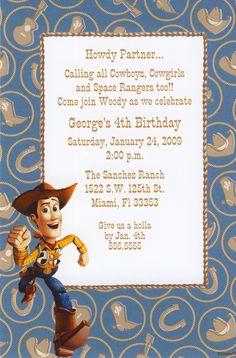 Disney's Toy Story's Woody the Cowboy Birthday Invitation Can be used for any occasion. By www.TCWDESIGNS.com Cowboy Birthday, 4th Birthday, Birthday Ideas, Disney Invitations, Birthday Invitations, Toy Story Theme, Disney Toys, Woody, Party Ideas
