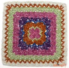 Block 21 in the Moogly Afghan CAL, by Andee Graves! Crochet Granny Square Afghan, Crochet Blocks, Granny Square Crochet Pattern, Afghan Crochet Patterns, Crochet Squares, Crochet Motif, Crochet Designs, Granny Squares, Diy Crochet