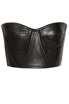 - Style - (Cropped underwired leather bustier by Balmain) Leather Crop Top, Leather Bustier, Black Bustier, Bustier Top, Leather And Lace, Black Leather, Leather Tops, Bustiers, Body Lenceria