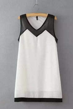 Белое шифоновое платье-трапеция с черными прозрачными вставками Коллекция 2015: