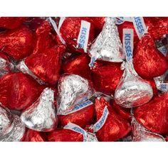Red & Silver Hershey's Kisses Milk Chocolate Candy: 5LB Bag