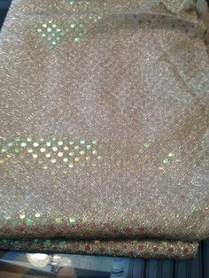 "Fabric- Gold Stretch With Gold Sequin Dots 43"" X 52"""