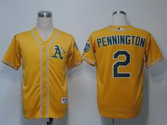 Athletics #2 Cliff Pennington Yellow Cool Base Embroidered MLB Jersey!$21.50USD
