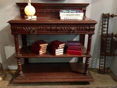 "Antique French Oak Buffet   Marble Top   45"" Wide x 17"" Deep  $1275  #77314  Rick's Antiques and Home Decor, Dealer #36  Lost. . .Antiques 1201 N. Riverfront Blvd. Dallas, TX 75207  Da"