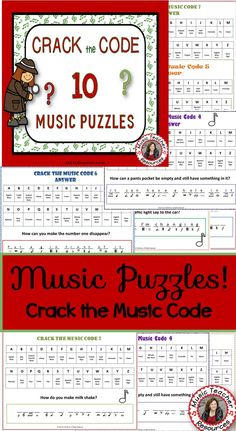 """TEN 'Crack the Music Code' Puzzles   Students must identify the name of the music symbols in order to find the correct letters to answer the riddle!  PUZZLE 1 is specifically for a first day/week activity. Students break the music code to reveal the following message:  """"Welcome to a brand new year of music and fun""""  Each of the TEN Music Code puzzles has an ANSWER sheet   ♫ CLICK through to preview or save for later  ♫"""