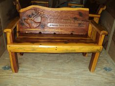 Superbe Carved Rustic Bench For Ponca Elk Education Center In Arkansas Featuring  Elk Center Logo Custom Carved From Eastern Cedar