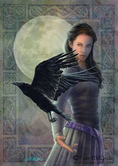 Female Elf with Raven