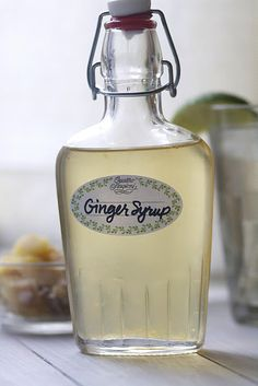 homemade ginger syrup to use in teas, mixed drinks, ginger ale, etc...