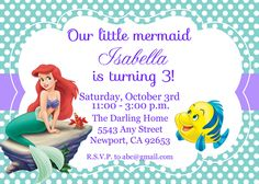 flounder the little mermaid birthday invitations
