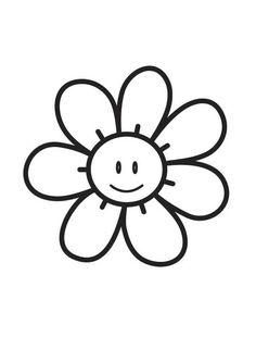 Kleurplaat Bloem Simple Flower Moederdag Pinterest