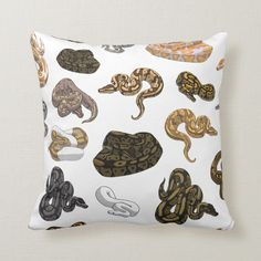 All sorts of ball python snake morphs can be found in this pattern! Sure to please any reptile enthusiast, designed by a herp lover for herp lovers. Size: Throw Pillow x Gender: unisex.