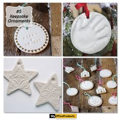Keepsake Ornaments created with Air Dry Clay! These ornaments would look beautiful on a tree or as a special tag add on for a Christmas present. Instructions for the star ornaments are located here, while the smaller ornaments how to details can be found by clicking on this link {http://myopblog.com/2015/10/01/12-beautiful-projects-to-make-with-air-dry-clay/}