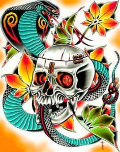 Key Master by Tyler Bredeweg Snake and Skull Tattoo Canvas Art Print