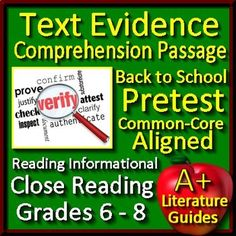 Close Reading - This Back to School ELA Reading Informational Pretest includes an original Reading Informational Passage with a 20 Question Reading Informational Quiz that includes the full range of the Reading Informational Common-Core Standards.
