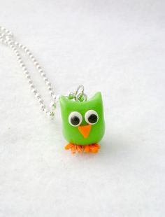 Polymer Clay Owl Necklace by Emariecreations on Etsy, $14.00