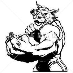 Mascot Clipart Image of Wildcats Bobcats Mascot Black White Fight Stance Graphic