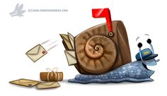 Daily Paint #1249. Snail Mail by Cryptid-Creations.deviantart.com on @DeviantArt