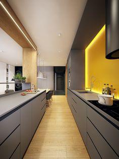 Cuisine design jaune et grise. Eclairage indirect