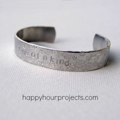 DIY stamped cuff bracelet tutorial from Happy Hour Projects... @Kristen Lekberg