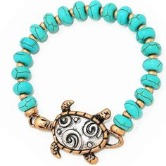 Metal turtle accented turquoise beaded stretch bracelet