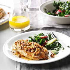 """Honey-Pecan Chicken Breasts Recipe -""""We love to entertain,"""" writes Penny Davis from Newman Lake, Washington. """"This is one of my favorite 'special' recipes to welcome dinner guests. The nuts add an elegant touch, and it fills the house with a great aroma."""""""