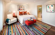 Here's How to Decorate a Master Bedroom in the Modern Style: Area Rugs Add Impact in a Modern Bedroom