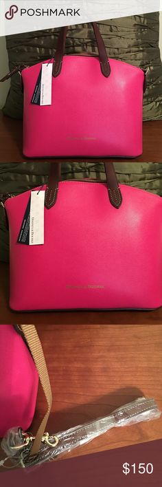 """Dooney and Bourke Small Gabriella - Fuchsia - NWT This is a spring and summer must have item!  For sale, is a NWT fuchsia Dooney & Bourke Small Gabriella satchel which features one inside zip pocket, two inside pockets, cell phone pocket, and inside key hook. Lined. Feet. Zipper closure. Handle drop length: 4.5"""". Strap drop length: 10.5"""". Dimensions: 9.75""""H x 11.25""""W x 7""""D. Please let me know if you have any questions. Dooney & Bourke Bags Satchels"""