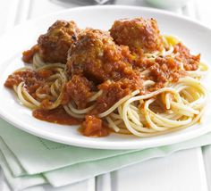 This quick, tasty and economical supper is a healthy way of getting the family fed, from BBC Good Food magazine. Sauce Recipes, Diet Recipes, Cooking Recipes, Healthy Recipes, Cooking Time, Recipies, Easy Turkey Meatballs, Turkey Mince, Vegetable Puree