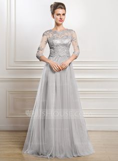[US$ 215.00] A-Line/Princess Scoop Neck Floor-Length Tulle Mother of the Bride…