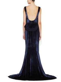 Panne Velvet Blouson Gown by Oscar de la Renta at Gilt