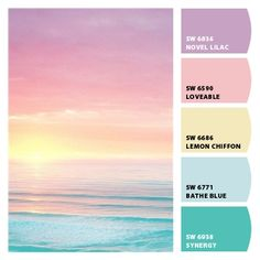 Purple and gold - pastel sunset color palette from Let's Chip It Sunset Color Palette, Colour Pallette, Sunset Colors, Colour Schemes, Color Combos, Beach Color Schemes, Beach Color Palettes, Pastel Colour Palette, Pantone