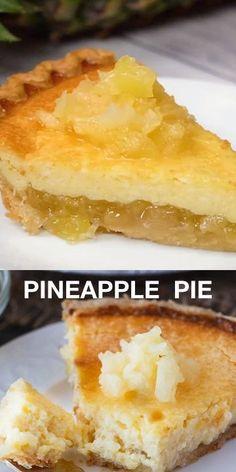 Pineapple Pie Pineapple Pastry, Pineapple Desserts, Pineapple Pie Recipes Easy, Pineapple Cheese Pie Recipe, Easy Peach Pie, Easy Pineapple Cake, Pineapple Tart, Easy Pie Recipes, Food Cakes