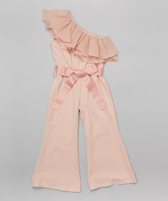 Loving this Rose Asymmetrical Ruffle Jumpsuit - Infant, Toddler & Girls on #zulily! #zulilyfinds