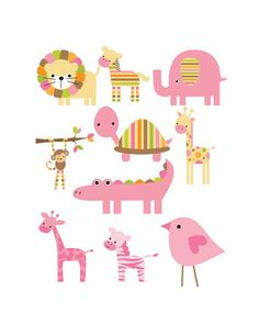 Set of 10 Iron On Pink Jungle Animals Appliques for  Baby Girl Shower, Pink, Green
