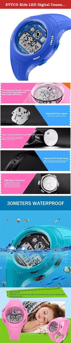 EVTCO Kids LED Digital Unusual Sports Outdoor Children's Wrist Dress Waterproof Watch with Silicone Band, Alarm, Stopwatch for Boy Girls Blue. Waterproof description The watch is real 30M waterproof,support washing,bathing and swimming ,but can't take hot bath. Movement type: Digital Display type: Digita Band Band materal: Resin Clasp type: Pin buckle Size and weight Watch lenght: about 24cm Dial diameter: about 4.4cm Dial thickness: about 1cm Band width: about 2cm Watch weight: about 43g...