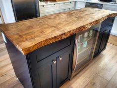 Live edge Maple kitchen island top we did for a client. Our kiln dried and flattened live edge slabs are great for adding an organic element to your residential or commercial space. You can buy slabs Kitchen Without Island, Wood Kitchen Island, Maple Kitchen, Old Kitchen, Kitchen Living, Kitchen Decor, Kitchen Islands, Bathroom Island, Kitchen Cabinets