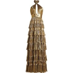 Elie Saab Tiered Lamé Dress ($5,579) ❤ liked on Polyvore featuring dresses, gold, tiered dress, brown cocktail dress, tiered cocktail dress, brown party dress and halter top