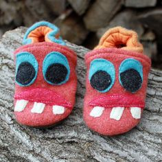 Orange Monster Wool Slippers Kids Size 12 18 Months Old Made From Recycled Materials