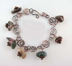 Michigan stones and copper bracelet puddingstone by rwilberg