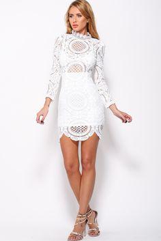 3e5ee81b0238 Bandage three quarter sleeve o-neck bodycon lace dress